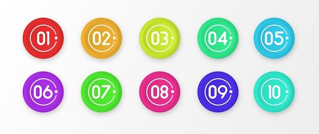 番号1から10の箇条書きのカラフルなマーカーが分離されました。 Premiumベクター