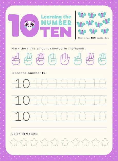 Number 10 Worksheet Template Free Vectors - 27+ Printable Number 10 Worksheets For Kindergarten Gif