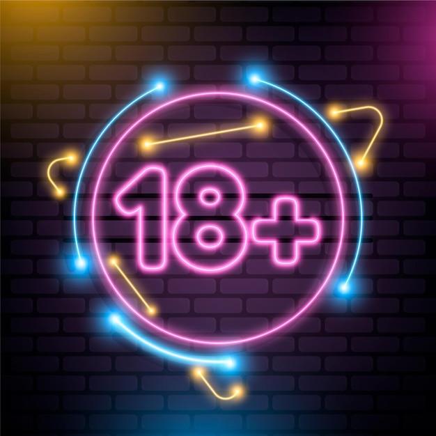Numero 18+ in stile neon Vettore gratuito