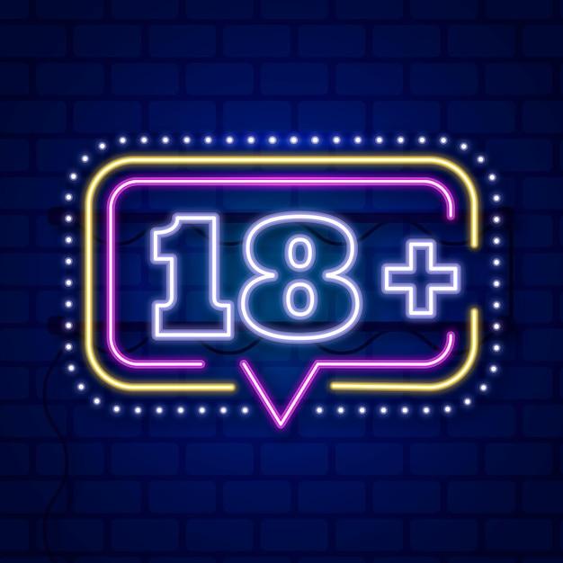 Number 18+ in neon style Premium Vector