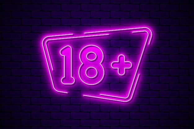 Number 18+ in neon style Premium Vector