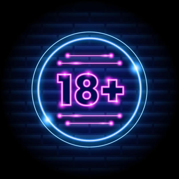 Number 18+ in neon style Free Vector