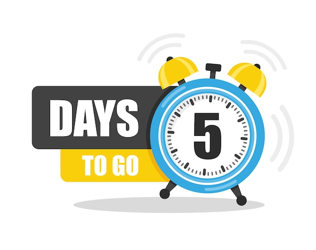 Number of 5 days to go Premium Vector