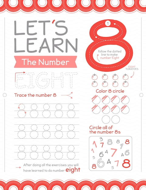 Number 8 worksheet with circles Free Vector