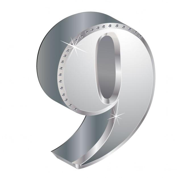 Number 9, 3d, metallic Free Vector