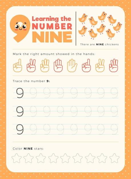 Number 9 worksheet template Free Vector