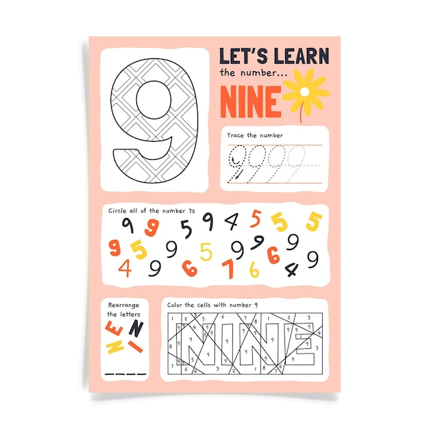 Number 9 worksheet with colorful digits Free Vector