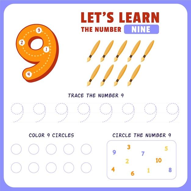 Number 9 worksheet Free Vector