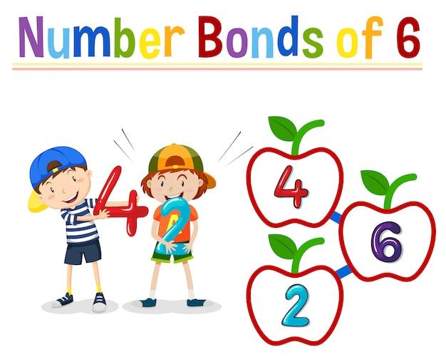 Number bonds of 6 Free Vector