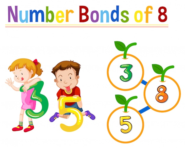 Number bonds of eight Free Vector