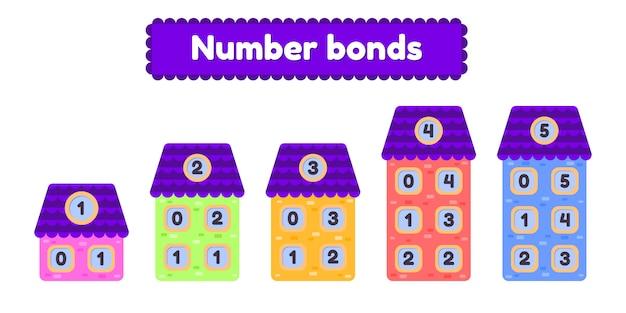 Premium Vector Number Bonds. Mathematic Worksheet For Kids Kindergarten,  Preschool And School Age. Cartoon House.