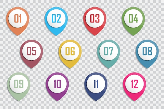 Number bullet point colorful 3d markers 1 to 12 vector Premium Vector