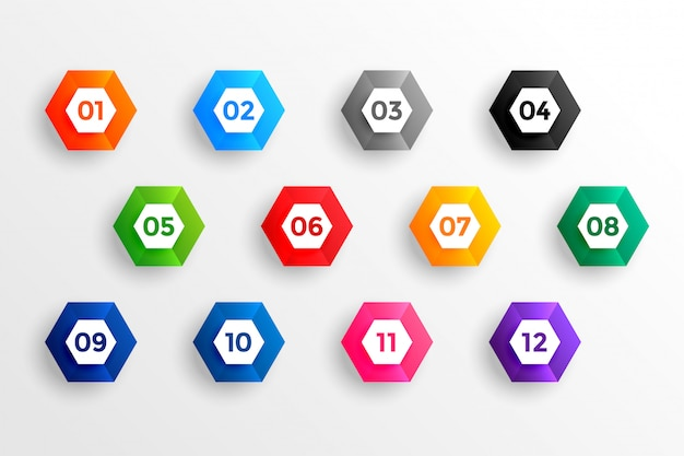 Number bullet points in 3d hexagon shape from one to twelve Free Vector