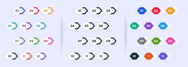 Number bullet points set from one to twelve Free Vector