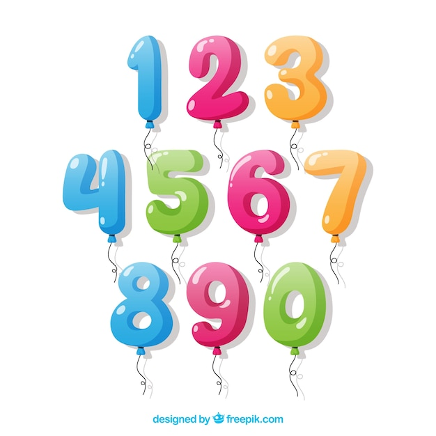 Number collection of balloons Free Vector