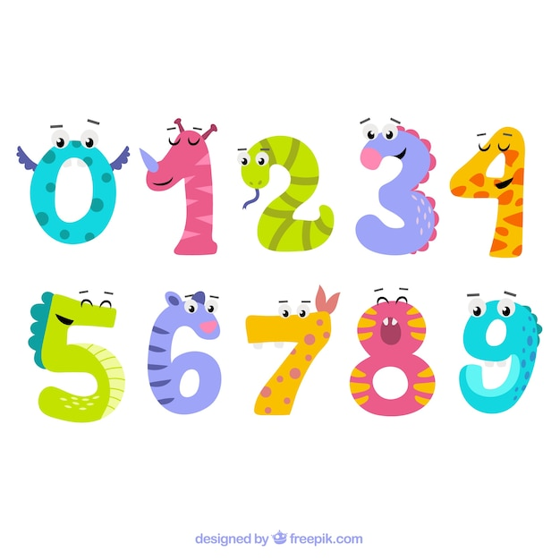 Number collection with animal characters Free Vector