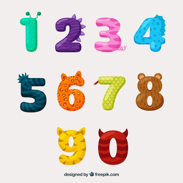 Number collection with animal look Free Vector
