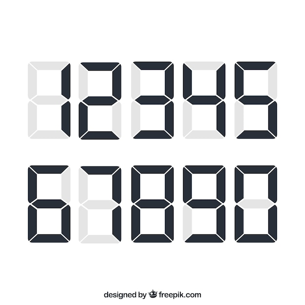Number collection with digital style Free Vector