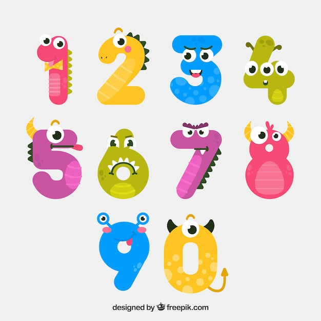 Number collection with funny animals Free Vector