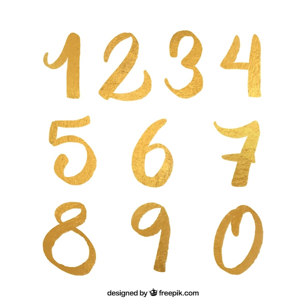 Number collection with golden style Free Vector