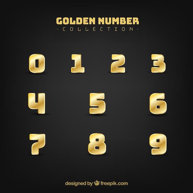 Коллекция номеров с золотым стилем Бесплатные векторы