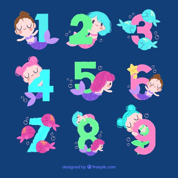 Number collection with lovely mermaids Free Vector