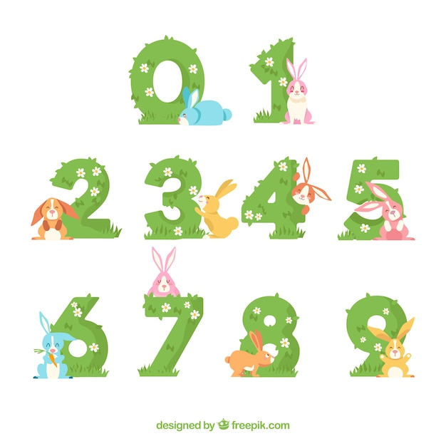 Number collection with lovely rabbits Free Vector