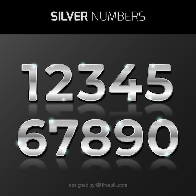 Number collection with silver style Free Vector