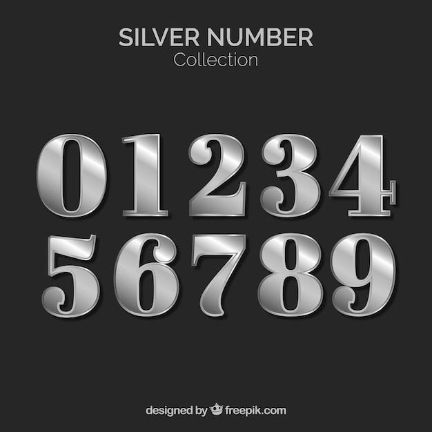 Коллекция номеров с серебряным стилем Бесплатные векторы