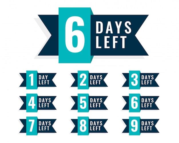 Number of days left badge design Free Vector