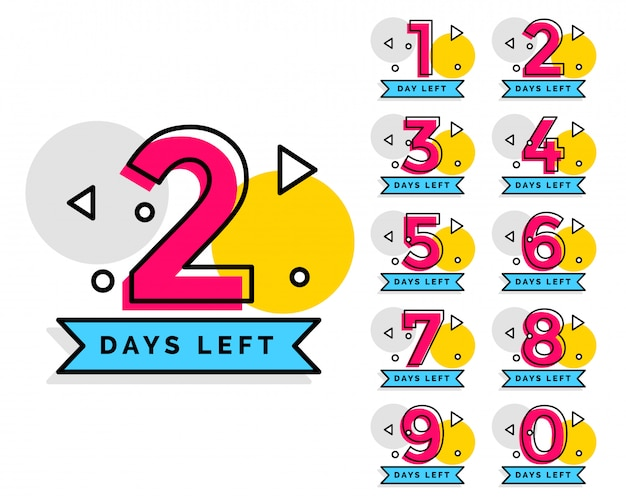 Number of days left badge for sale or promotion Free Vector