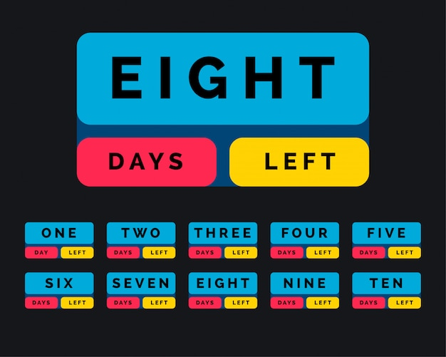 Number of days left in button style Free Vector