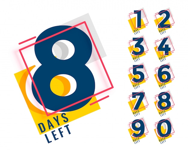 Number of days left counter in memphis style Free Vector
