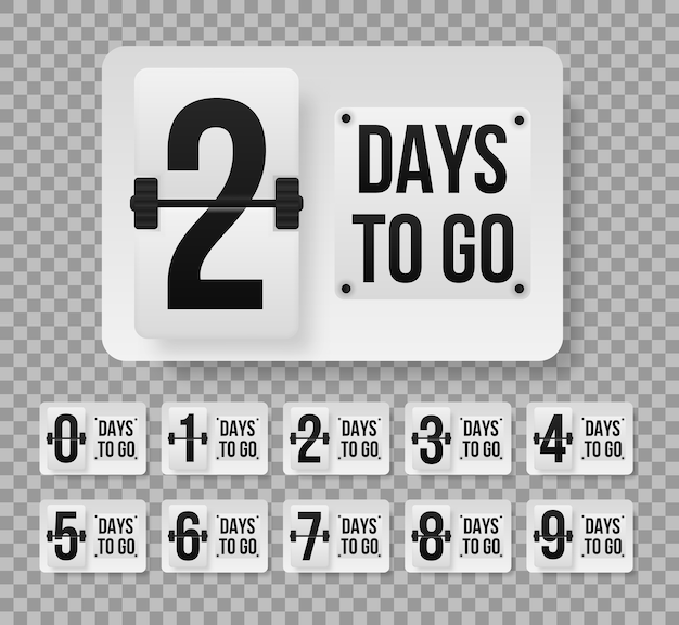 Number of days left counting down template. promotional banner with number of days to go. Premium Vector