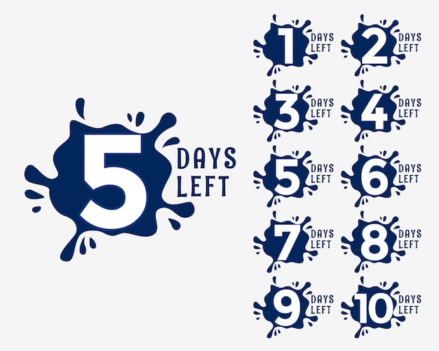 Number of days left in ink drop effect style Premium Vector