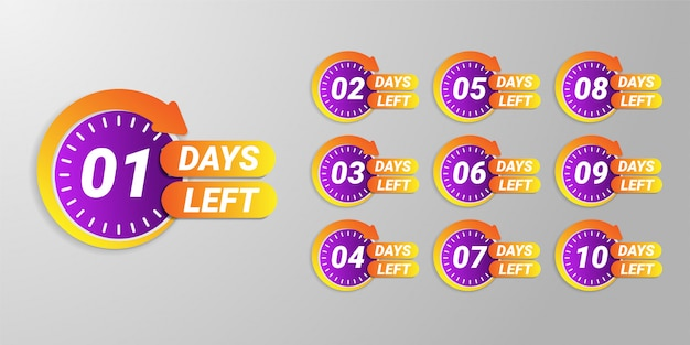 Number of days left promotion banner Premium Vector