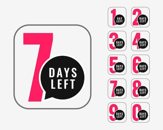 Number of days left promotional banner design Free Vector