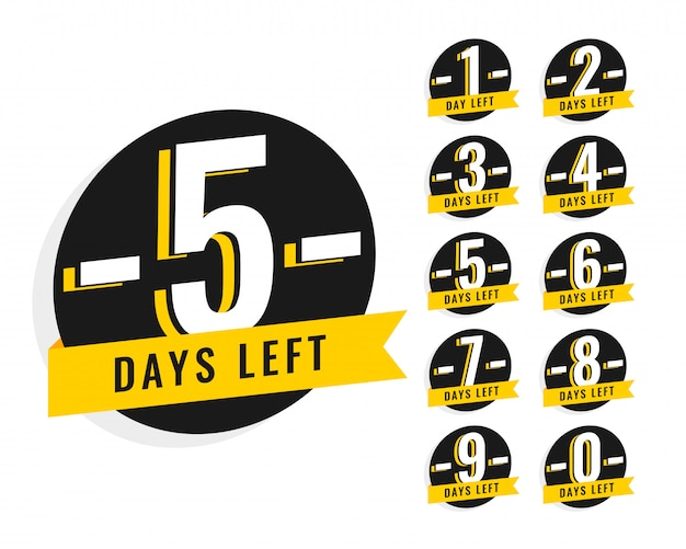 Number of days left promotional banner symbol Free Vector