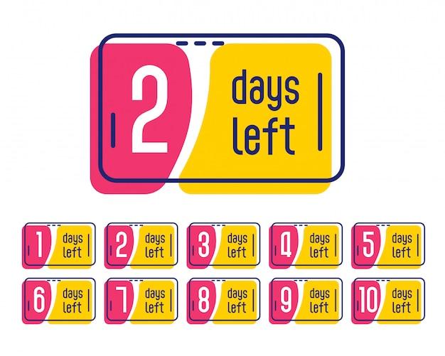 Number of days left promotional label banner Free Vector