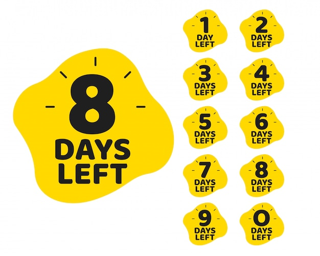 Number of days left promotional marketing template set Free Vector