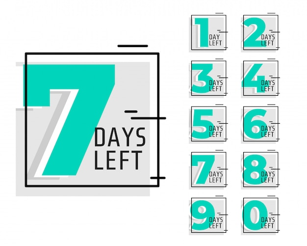 Number of days left promotional trendy banner Free Vector