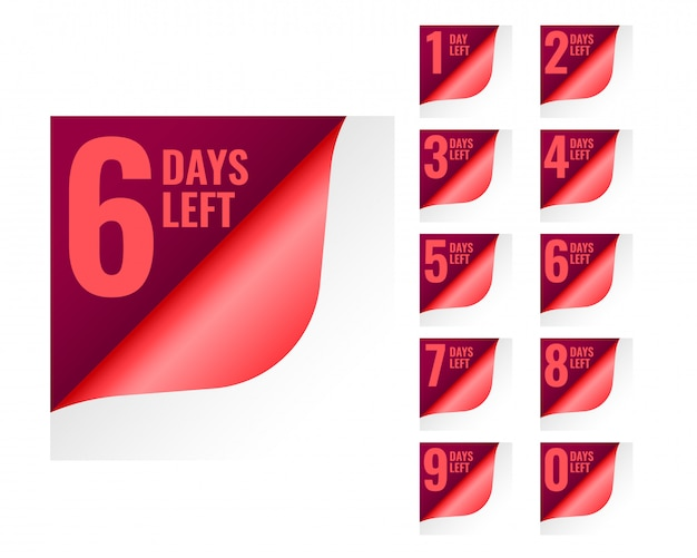Number of days left tags in page curl style Free Vector