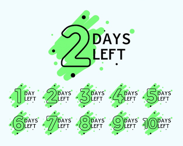 Number of days left tags Free Vector