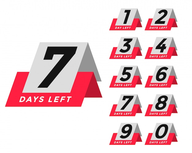 Number of days left template in tag style Free Vector