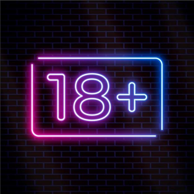 番号18プラスネオンスタイルサイン 無料ベクター