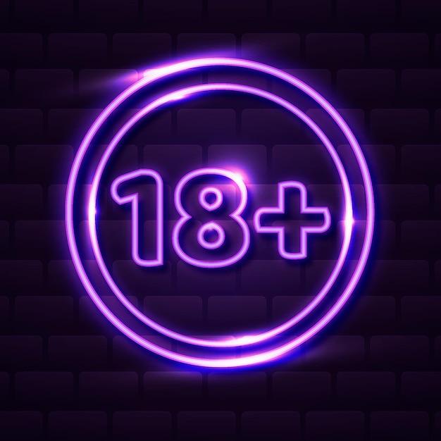 Число восемнадцать плюс символ неонового стиля Бесплатные векторы
