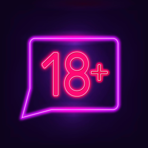 Number eighteen plus in neon style sign Free Vector