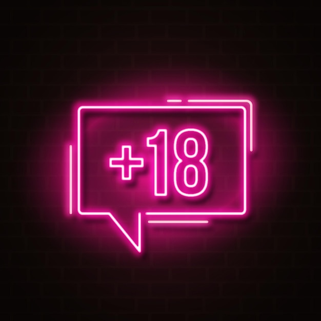 Number eighteen plus in neon style symbol Free Vector