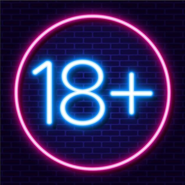 Number eighteen plus in neon style Free Vector
