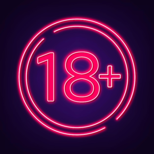 Number eighteen plus in neon style Free Vector